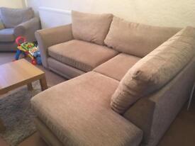 Beige Corner sofa & armchair