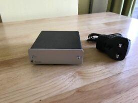 Pro Ject phono box pre amp in silver