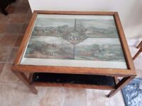 Vintage 'David Joel' Art Deco Coffee Table with hunting scene artwork and storage shelf