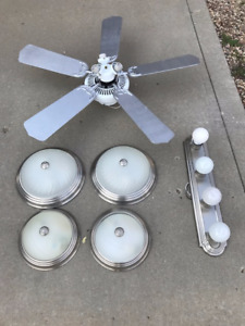 ceiling fan, bathroom light and 4 room lights