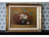 Vintage British Still Life Oil Painting of Flowers