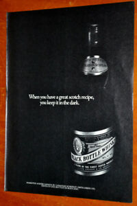 CANADIAN 1972 BLACK BOTTLE WHISKEY VINTAGE AD - ANONCE PUB RETRO
