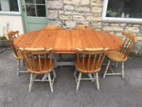 Extendable pine table and chairs(free local delivery)