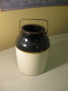 "VINTAGE WIRE HANDLE"" COUNTRY""POTTERY  JUG,BROWN TOP,,REDUCED $15"
