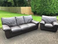 3 -1 -1 dark Brown Full Leather sofa set suite