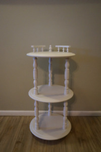 Shabby Chic Pure White 3-Tier Solid Wood Round Shelf Stand