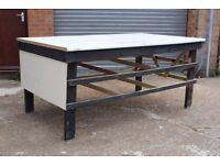 DELIVERY OPTIONS - LARGE VERY STURDY SOLID HOMEMADE WOODEN WORK BENCH