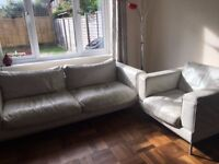 Very Good quality white leather 4 Seater Sofa, an Armchair And Foot Stool