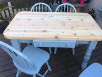 Shabby chic farm house table and four chairs