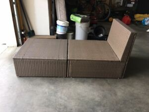 IKEA Wicker Chair and Foot Stool