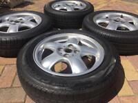 "Genuine 15"" Mini Cooper 5 Star spoke Alloy wheels and excellent tyres 5mm"