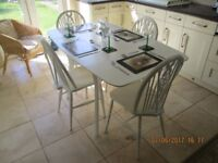 TABLE AND FOUR CHAIRS PAINTED LAURA ASHLEY COUNTRY WHITE