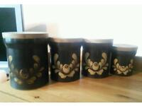 Denby Bakeware, storage jars, very collectable, brown and cream. Bought in 1981.