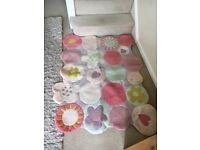Kids Vertbaudet pink kids flower rug (100x133cm)