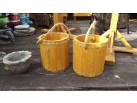 Wooden bucket planters x2