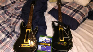 Guitar Hero Live (Xbox One) with two guitars and adapters