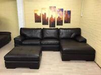 Lovely Dark Brown Leather Corner Sofa