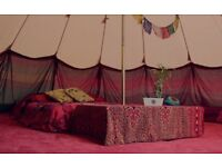 I have a large TIPI and 4 double beds with bedding for BOOMTOWN Festival