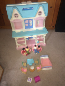Fisher price doll house dollhouse with black dolls & accessories