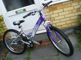 "GIRLS 24"" WHEEL BIKE 13"" ALUMINIUM FRAME IN GREAT WORKING ORDER AGE 8+"