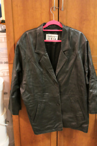 2 LADIES COATS ~ ONE LEATHER & ONE FAUX FUR - EXC. COND.