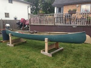 16' aluminum square stern canoe and 4 hp motor