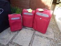 3 X Skyflite Red Suitcases Small / Medium / Large