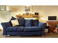 Ikea 3-Seater Sofa in Blue Fabric, 210cm x 90cm