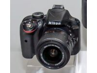 Nikon D3300 with 3 lens, case, strap and SD card