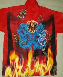 Boys Large Chinese Dragon Flame Button Up Shirt