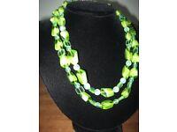 VINTAGE - RETRO Necklace Summer Greens & Aqua