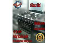 Belling 60cm Gas Cooker Double Oven Black