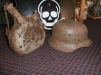 German helmet and ww1 French water bottle