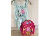 Peppa pig light up rucksack and play suit aged 5