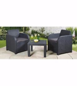 Brand New Carolina All Weather Balcony Set 2 Chairs , Table Black Patio Garden Set