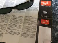 RayBan sunglasses with case and paperwork
