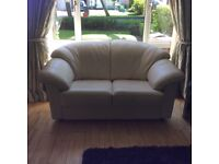 2 and 3 seater cream leather sofas for sale