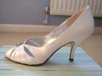 Belle Ivory Silk Heels, Size 40