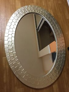 Silver coloured mirror- large