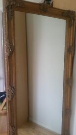 Antique style lovely leaner mirror with gold frame