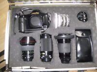Canon T90 camera and accessories