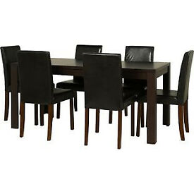 Penley Walnut Stain Extendable Dining Table & 6 Black Chairs