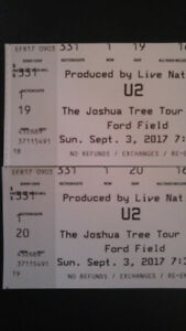 U2 tickets Ford Field Sept 3rd-COST