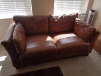 Lovely brown leather sofa and arm chair for sale. Excellent condition.