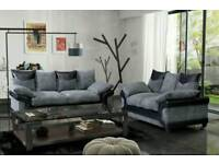 Superb BRAND NEW black and grey jumbo cord sofa suite .3 and 2 seaters.can deliver