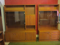 Two display/storage cabinets. 177cm high. One 150cm wide, one 100cm wide. Maidenhead