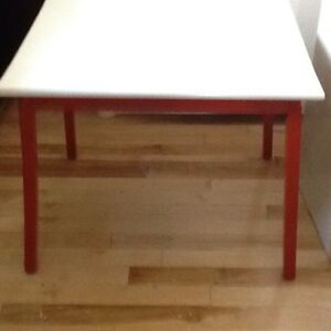Red and white side table