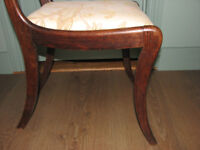 pair of solid sabre leg dining/bedroom chairs in faux rosewood