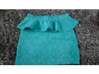Turquoise peplum skirt size 10