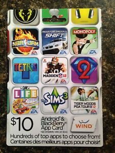Android and blackberry $10 app card